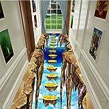 YQ WHJB Area Rug 3D Pastoral Style,Floral Road Corridor Mat,Entrance Indoor Floor Mat,3D Geometric Optical Illusion Carpets E 80x180cm(31x71inch)