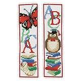Vervaco ABC 2er Set Marcapáginas, diseño de Punto de Cruz, algodón, Multicolor, ca. 6 x 20 cm / 2,4' x 8'