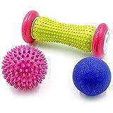 Rindasr Rodillos de masaje, PU + CINTA plástico masajeador de pies, músculo bola de relajación fascia, casero de la aptitud presión de los dedos equipos de masaje de rodillos (Color : A)