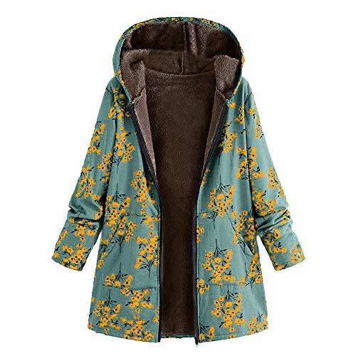 Plus Größe Damen Herbst Winter Jacke Parka Mäntel Steppjacke Übergangsjacke mit Kapuze Hoodie Warm gefüttert Vintage Fleece Dicke Wollmantel Pelzmantel Outwear von Innerternet