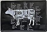 NOT Cow Cuts Beef BBQ Dad Butcher Blechschild Plaque