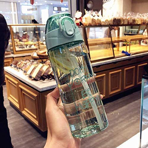 xiaojiangqi Bicchiere Da Acqua Per Piccoli Sport Creativi a Prova Di Caduta Bicchiere in Plastica Di Grande Capacità Con Bicchiere Per Studenti in Paglia 601-700ml /Ciano