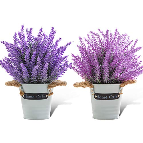 Artificial Lavender Flower in White Metal Pot 2Pcs Small Fake Flowers Potted for Farmhouse Home Office Indoor Decoration