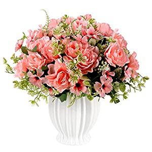 Fake Gardenia Flowers with Ceramics Vase, Silk Flower Arrangements, Artificial Flowers in Vase for Homes Offices Dinning Roon Table Kitchen Desktop Decorate (Sunset red)