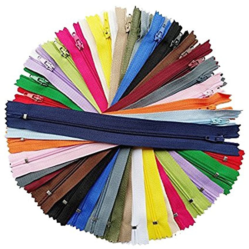 Chenkou Craft 60pcs More Than 20 Colors Nylon Coil Zippers Zipper Kit Tailer Sewing Tools Craft Total Length 9 Inche (Zipper Size 8 inch) Mix Assorted Bulk Lots