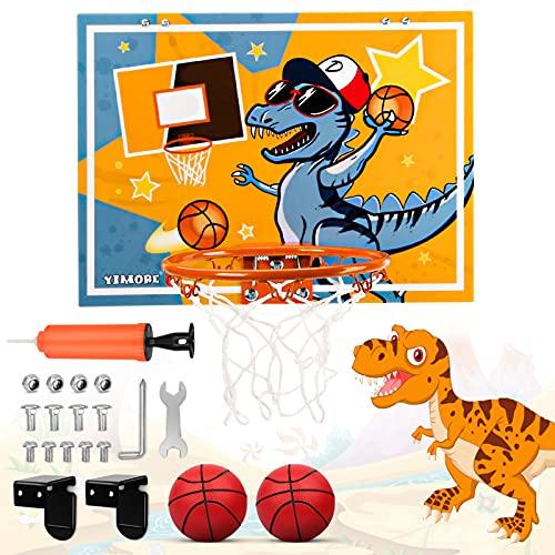 YIMORE Dinosaurio Canasta Baloncesto Infantil, Mini Canasta Baloncesto Habitacion con Pelota Regalos de Dinosaurios para niño niña de 3 años