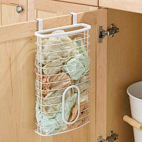 mDesign Metal Over Cabinet Kitchen Storage Organizer Holder or Basket - Hang Over Cabinet Doors in Kitchen/Pantry - Holds up to 50 Plastic Shopping Bags - White