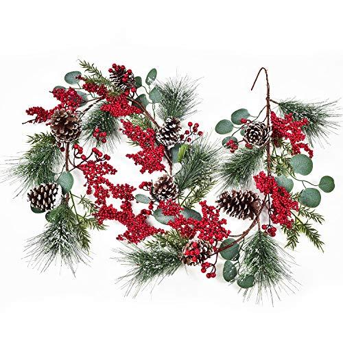 YQing 204cm Guirnalda de Navidad con Bayas Rojas Cono de Pino, Aguja de Pino Nevado Hojas de Eucalipto Navidad Decoración de Puerta Guirnalda de Bayas Rojas para Vacaciones Año Nuevo