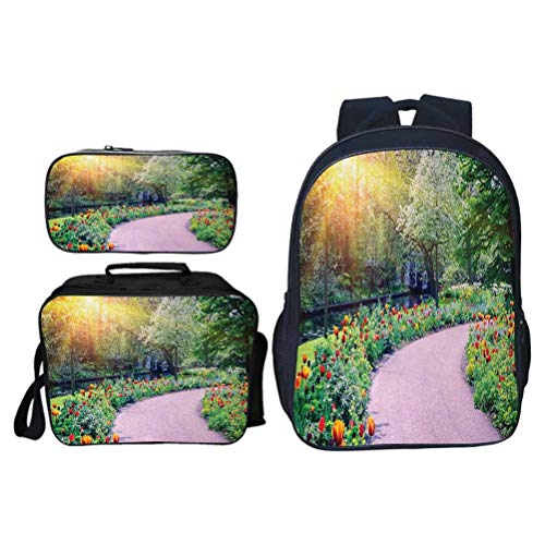Vintage Laptop Backpack, Garden Spring Landscape with Colorful Tulips Keukenhof Garden in Netherlands Horticulture, School Bag for Daily Use and Outdoor Activities, Set 3 Pieces