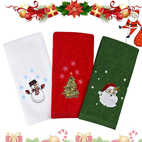"Christmas Hand Towels Washcloths, 100% Pure Cotton Bathroom Kitchen Washcloths Towels, Basin Towels 12"" x 18"" Set of 3, Drying, Cleaning and Decor (Red, White, Green)"