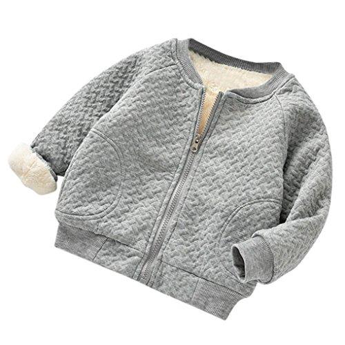 Hirolan Baby Fleecejacke Kinderkleidung Säugling Kleinkind Winter Kleider Mantel Mädchen Bomberjacke Jungen Reißverschluss Warm Outwear Beiläufig Steppjacke (90cm, Grau)