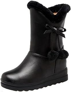 [KemeKiss] ガールズ ショートブーツ ボア インヒール 雪靴 ポンポン