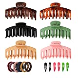 Susimond 6PCS Large Hair Claw Clips for Thick /ThinHair, Premium 4.3 Inch Nonslip Matte JawHair Clips with Snap Hair Clips and Hair Ties,BigFashion Strong Hold Banana Hair Clips for Women Girls