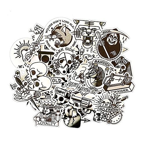 Schwarz und Weiß Retro Tattoo Oldschool Aufkleber Gitarre Panel Gepäck Trolley Koffer Aufkleber 30 Stück