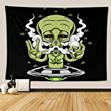 Cannabis Leaf Psychedelic Tapestry,Wall Hanging Mass Wall Tapestry for Bedrooms Living Room Blanket Wall Decor Dorm,Alien Smoking Weed Cannabis Joint Marijuana Art Bad Bong Hit Bud Cancer,60x80 Inch