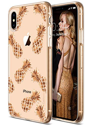 Coolwee Pineapple Case for iPhone Xs,iPhone X Pineapple Rose Gold Shiny Glitter Women Girl Men Foil Clear Design Plastic Hard Back Case Soft TPU Bumper Protective Cover for Apple iPhone Xs/X 5.8 inch