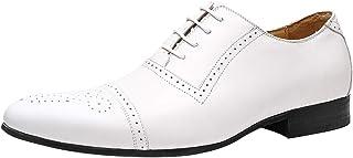 Homme Oxford Chaussures de Ville à Lacets Brogue Cap-Toe Walk Derby Travail Buisness en Cuir Chaussure Noir Marron Blanc Café