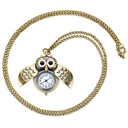 Taffstyle Damen Kinder Halskette mit Uhr Eulen Anhänger Retro Vintage Damenuhr Analoguhr Altgold Gold