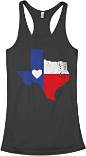 Threadrock Women's Texas State Flag with Heart Racerback Tank Top