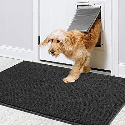 """Color&Geometry Indoor Doormat 36""""x59"""" Non Slip Backing Machine Washable Super Absorbent Inside Mats, Low-Profile Rug Doormats for Entryway,Front Door, Back Door Rug Black"""