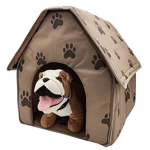 MiaoMiao Cat/Dog Bed huisdier grot & huis kleine voetafdruk huisdier huis afneembaar vouwen platte hond huis Nest bruin hond matras huisdier Nest, Brown47*49 * 49CM