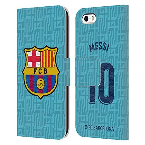 Head Case Designs Oficial FC Barcelona Lionel Messi 2019/20 Jugadores Tercer Kit Grupo 1 Carcasa de Cuero Tipo Libro Compatible con Apple iPhone 5 / iPhone 5s / iPhone SE 2016