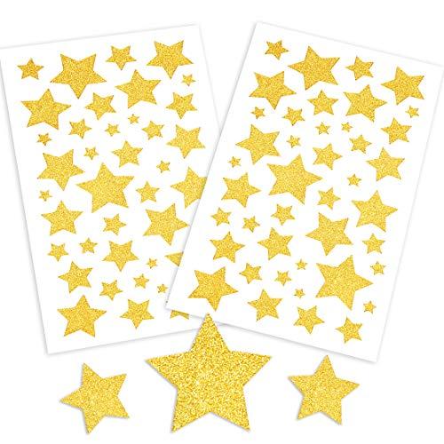 Weihnachtsaufkleber Sterne, 10 PCS Aufkleber Weihnachten, Glitzersterne Aufkleber Gold zum Selbstklebend, Weihnachts kalenderdekoration, DIY