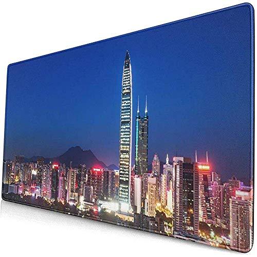 Gaming Extended Mouse Pads mit Rutschfester Gummibasis Blaues Panorama der Wolkenkratzer in der modernen Stadt bei Nacht 30X80 cm