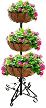Gr8 Garden 2005971 3 Tier Flower Fountain with Coco Liners Black Metal Garden Patio Planter Plant Pot Tub Rack Free Standing, Brown