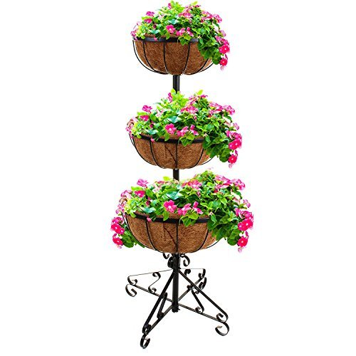 Gr8 Garden 3 Tier Flower Fountain with Coco Liners Black Metal Garden Patio Planter Plant Pot Tub Rack Stand Free Standing