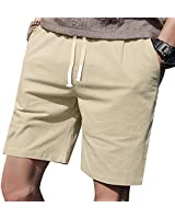 """LTIFONE Mens Casual Shorts Elastic Waist 7"""" Inseam with Drawstring Slim Fit Summer Pants with Pockets(Khaki,M)"""