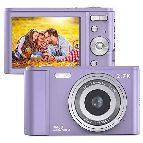 FamBrow Digitalkamera 2,88 Zoll 44 Megapixel 2.7K Mini Digitalkameras mit 16X Digitalzoom Kompakte Digitalkamera mit 2 Batterien für Anfänger (Violett)