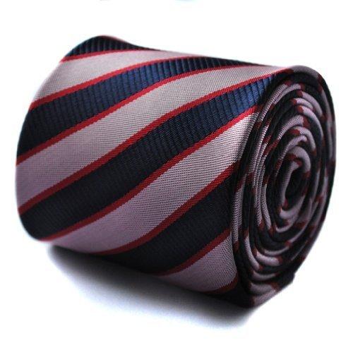 Frederick Thomas cravate rayée rose et rouge et motif floral signature à l'arrière.