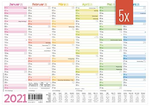 5 x Premium Tafelkalender 2021 A4 quer [Rainbow] - Jahresplaner, Wandkalender, Jahreskalender inkl. kleine Übersicht Folgejahr, Feiertage & Ferienübersicht | nachhaltig & klimaneutral