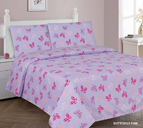 Kids printed sheet set: Flat & fitted sheets with pillow cases. Choose from butterfly, Dinosaur, Shark, Princess, sports, sailor prints Twin or Full (Twin, Butterfly Pink)