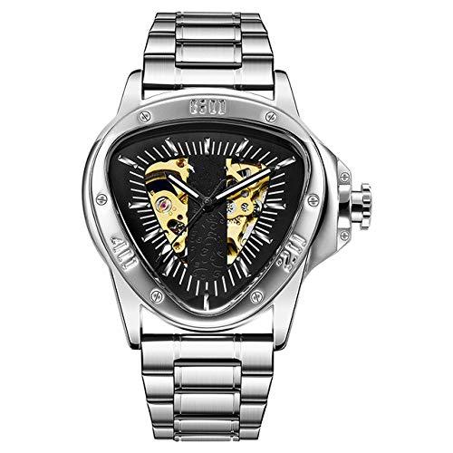 Mode Männer Automatik Mechanische Uhr Dreieck Zifferblatt Lederarmband Uhr Sportuhr Silber