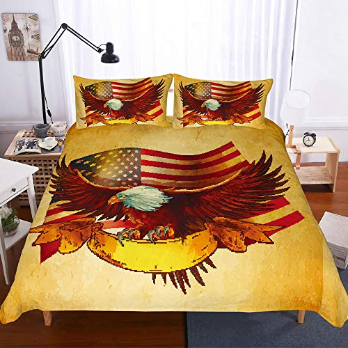 QNZOR Duvet cover set Yellow eagle flag 3D printed Bedding set Soft and cozy polyester duvet cover 102.4 x 90.6 inch with Zipper Closure, for kids teenagers and adults