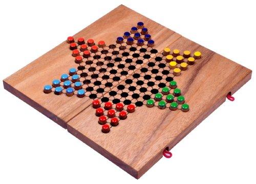 LOGOPLAY Halma Gr. L - Stern Halma - Chinese Checkers - Strategiespiel - Gesellschaftsspiel aus Holz mit klappbarem Spielbrett