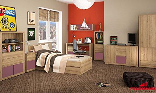 Jugendzimmer Kinderzimmer 17801 komplett 9-teilig wildeiche - Farbe Frontapplikation wählbar (violett)