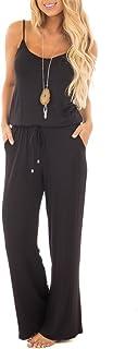 sullcom Women Summer Solid Sleeveless Wide Leg Jumpsuit...