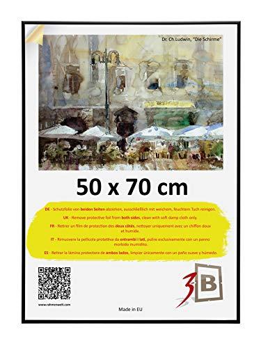 3-B Bilderrahmen Alu Poster Brushed - Posterrahmen mit Polyesterglas und Schutzverpackung - Schwarz matt - 50x70 cm (B2)