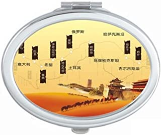 Camel Desert Along the Way to the Silk Road Map Mirror Portable Fold Hand Makeup Double Side Glasses