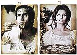 KUSTOM ART Juego de 2 cuadros de estilo vintage con famosos Celentano y Sofia Loren que sirve la pizza. Impresión sobre madera para decoración de restaurantes y pizzerías, tractores y hoteles