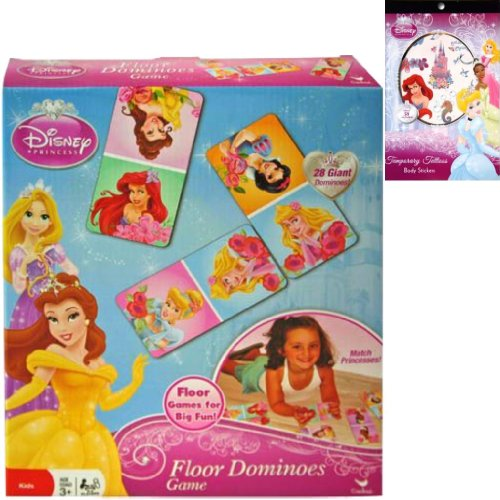 Disney Princess Floor Dominoes Game Holiday Gift Set for Kids - 1 Princess Dominos Game with 28 Giant Pieces Plus 1 Princess Temporary Tattoo Sticker Book - Best Christmas Gifts For Girls 2015