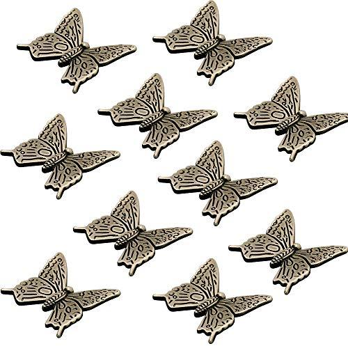 Vintage Mariposa Manijas Pomos Puerta de Armario Vitrina Muebles Pecho Tirador de Cajón Antiguo Forma de Animales Tirador Pomo - 10pcs
