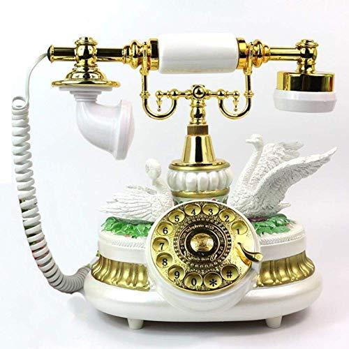 YUBIN Teléfono Estilo Europeo HH-End Teléfono Retro Romántico Cupido Caballero Casero Casa Liña Sala de Estar Antiguo Adornos Decorativos/Hogar Línea Fija (Color, Blanco)