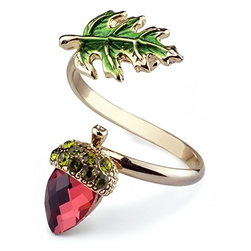 JOE COOL Ring Acorn & Leaf Made with Crystal Glass & Tin Alloy