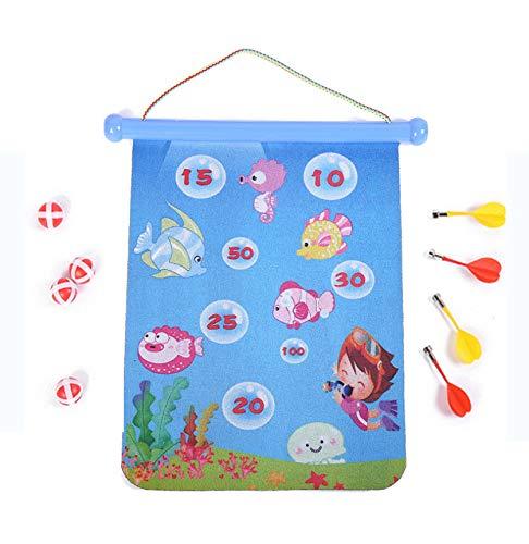 Xihaoer Tablero de Dardos magnético para niños: Tablero de Dardos Enrollable de 2 Lados, Juegos de Interior para niños con 4 Dardos magnéticos y 4 Bolas de Dardos (Mundo Submarino, 38cm)