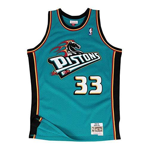 Mitchell & Ness - Maglietta Grant Hill #33 Detroit Pistons 1998-99 Swingman NBA, taglia S, colore: Turchese