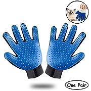 MaxSure Pet Grooming Glove - Gentle Deshedding Brush Glove - Efficient Pet Hair Remover Mitt - Enhanced Five Finger Design - Perfect for Dog & Cat with Long & Short Fur - 1 Pair